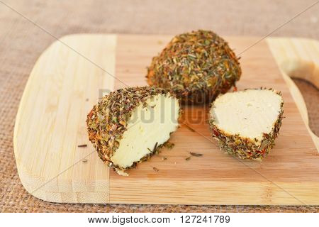 Small Swiss hard cheese balls Belper Knolle made from cow's milk