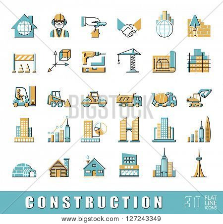 Set of construction icons.  Collection of flat line vector icons presenting various stages of building process. Civil engineering. Work on construction site.