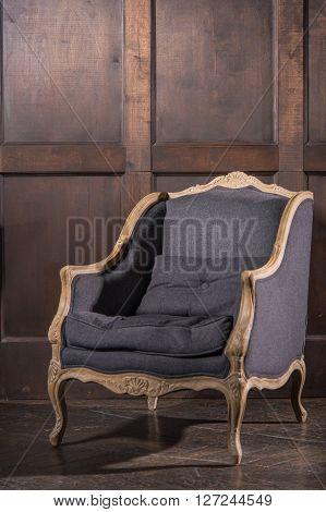 Blue luxury vintage style sofa isolated on white background.