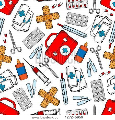 Medicines and medical supplies background with colored sketched seamless pattern of pills, syringes, first aid kits, drug ampoules, plasters, roller bandages, scissors and bottles of antiseptic