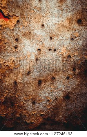 texture background old hardboard with rusty nails