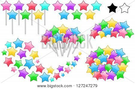 Vector illustration set of colorful stars on stick in various forms.