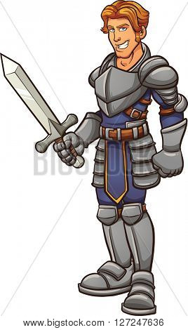 Cartoon knight in armor. Vector clip art illustration with simple gradients. All in a single layer.