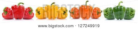 Collection Of Bell Pepper Peppers Paprika Paprikas In A Row Isolated On White