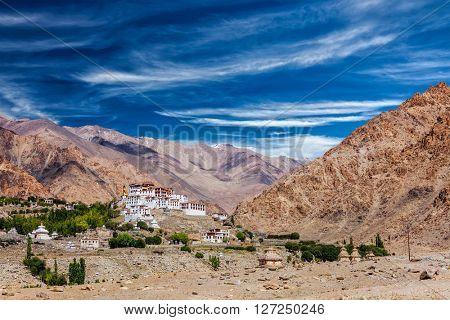 Likir Gompa Tibetan Buddhist monastery in Himalayas, Ladakh, Jammu and Kashmir, India