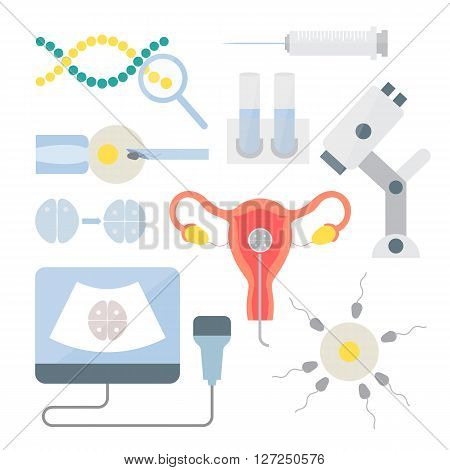 In vitro fertilization set. In vitro procedure fertilization in laboratory. Artificial insemination and Female infertility. Reproductive system vector icons