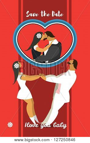 stylized characters bride and groom holding hands circling in the dance
