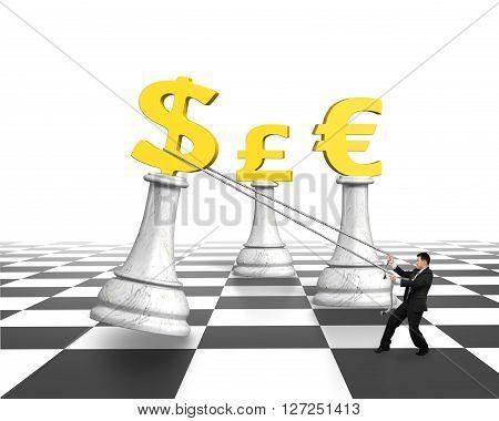 Man Pulling Dollar Sign Of Money Chess On Chessboard