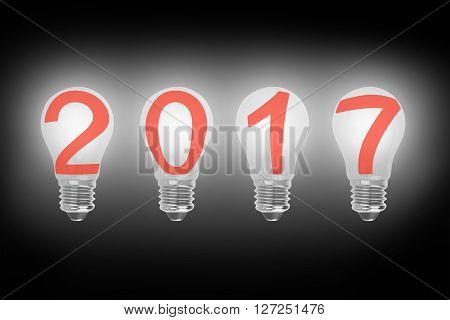 Bright 2017 Light Bulbs In A Row Illuminated The Dark