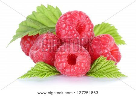 Raspberry Raspberries Berry Berries Fruit Isolated On White