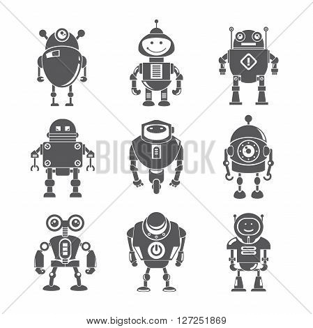 set of 9 cute robot icons in white background