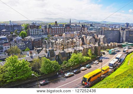 View to the Old Town of Edinburgh in Scotland. Edinburgh is the capital of Scotland in the United Kingdom.