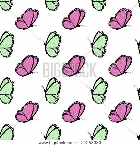 Green And Fucsia With Black Butterflies