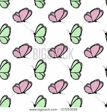 Green And Pink With Black Butterflies