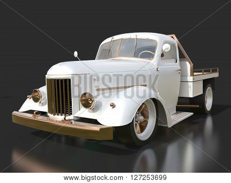 Old restored pickup. Pick-up in the style of hot rod. 3d illustration. White car on a black background