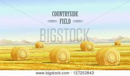 Countryside landscape vector illustration with haystacks on fields. Rural area landscape countryside house. Meadow landscape. Rural background. Hay bales. Farming life concept. Hay bales rural landscape. Countryside field. Rural landscape vector. Cartoon