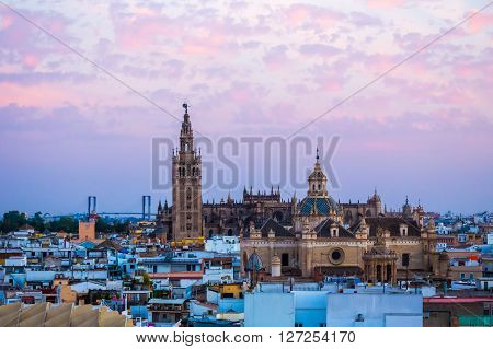Sunset in Seville view from Metropol Parasol at the old Cathedral SevilleSpain ** Note: Visible grain at 100%, best at smaller sizes