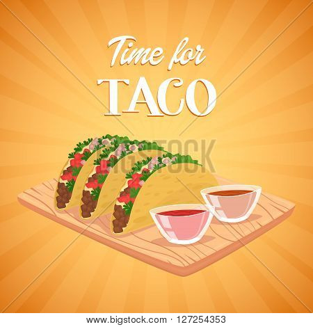 Mexican Tacos. Mexican food concept. Spicy meal. Tortilla, lettuce, salsa and beef in wrap. Banner of mexican food. Cartoon mexican food poster. National food from Mexico. Mexican fast food.