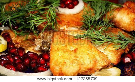 Fried fish The  picture shows a grilled fish - Caspian kutum.  This  dish is one of a variety of Azerbaijani cuisine.