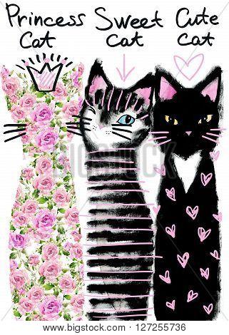 Cat. Cute cat. Watercolor Cat illustration/ Birthday card. T-shirt  print. Greeting card. Pet  illustration. Poster illustration. Kitten. Greeting card with cute Cat