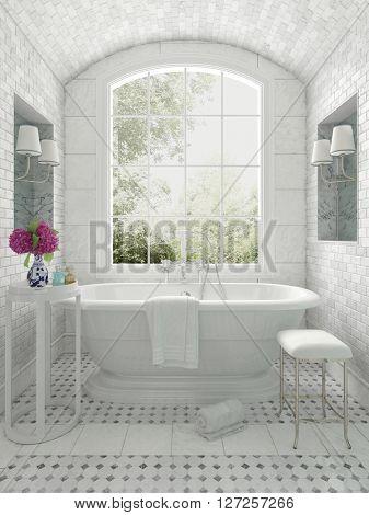 Fresh white monochrome luxury bathroom interior with an arched window overlooking a garden, 3d render