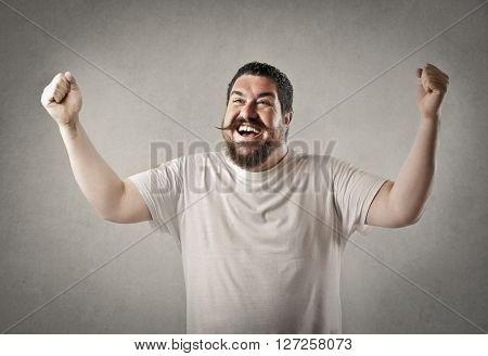 Happy chubby man
