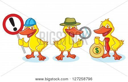 Duck Mascot Vector with sign detective and business