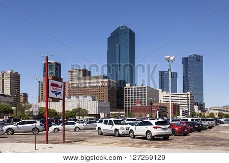 FORT WORTH TX USA - APR 6: Highrise buildings in Fort Worth downtown district. April 6 2016 in Fort Worth Texas USA