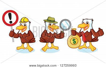 Eagle Mascot Vector with sign detective businessman