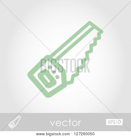 Hand saw vector icon outline isolated garden eps 10