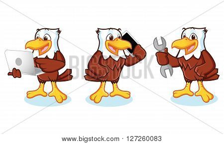 Eagle Mascot Vector with phone laptop and mechanics