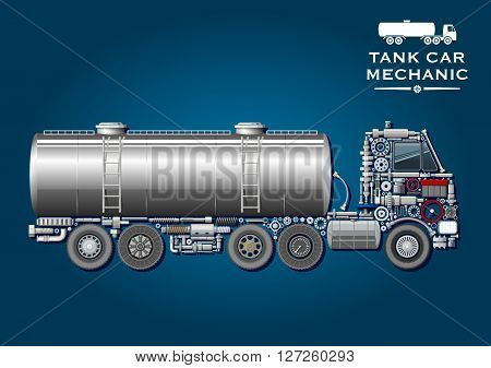 Modern tank truck symbol with fuel tanker provided with two ladder and silhouette of truck tractor, composed of wheels, crankshaft, axles, transmission and suspension systems, ball bearings, fuel tank, battery, steering wheel, pressure hoses, windows, gea