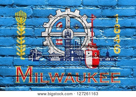 Flag Of Milwaukee, Wisconsin, Painted On Brick Wall