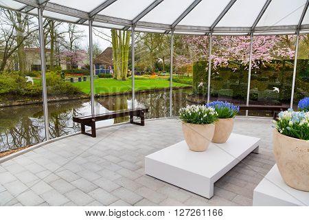 Lisse, Netherlands - April 4, 2016: Pavillion interior view of dutch spring garden Keukenhof, Lisse, Netherlands