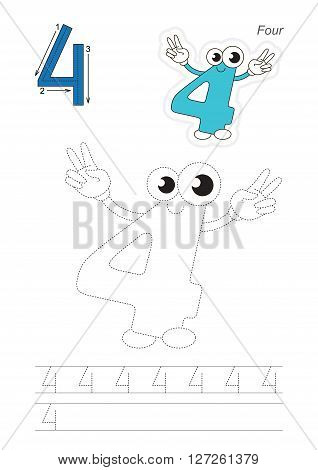 Vector exercise illustrated alphabet. Learn handwriting. Page to be traced. Complete english alphabet. Tracing worksheet for figure Four