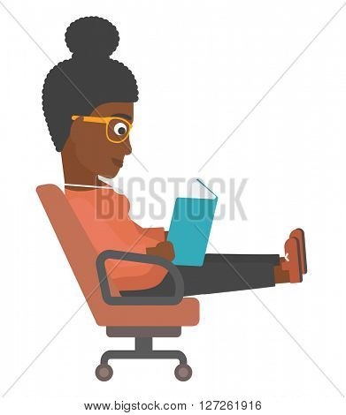 Business woman reading book.
