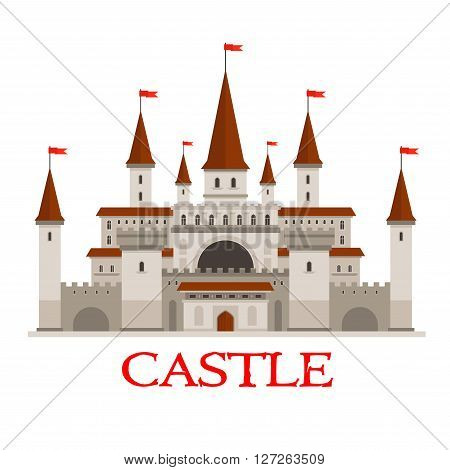 Medieval castle or fortress icon with red flags on conical turrets, arched windows and entrance, strong walls with flanking towers and wooden gate. Use as history or architecture theme design poster