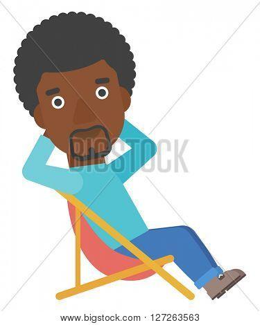 Man sitting in a folding chair.
