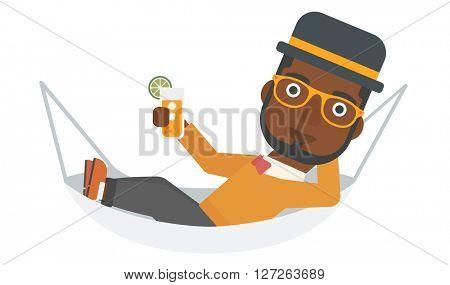 Man lying in a hammock.