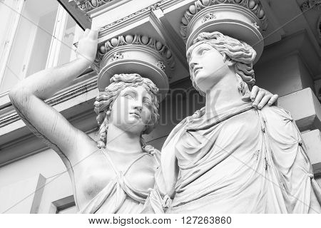Caryatid. Statues Of Two Young Women, Vienna