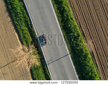 Aerial view of motorbiker. Spring season.