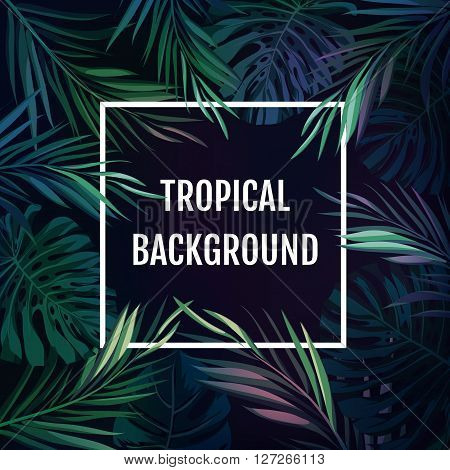 Summer tropical hawaiian sale background with palm tree leavs and exotic plants, space for text, vector illustration.