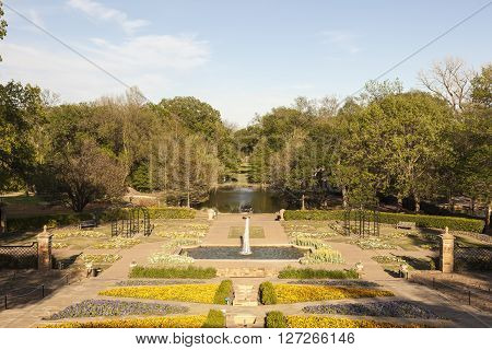 Rose Garden and park in the city of Fort Worth Texas USA
