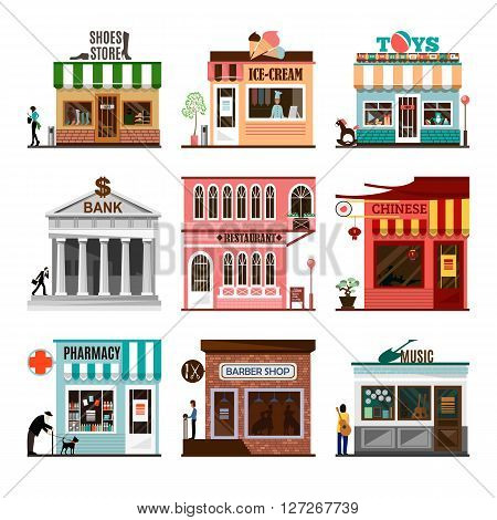 Set of flat shop building facades icons. Vector illustration local market store design. Street restaurant, retail, shoes stall, ice cream, toys game, bank, chinese, pharmacy, barber, music. App sign