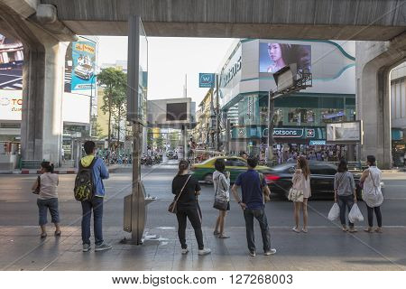BANGKOK THAILAND - APR 10 : unidentified thai people wait for omibus near Siam Center at siam square on april 10 2016 thailand. Siam square is famous shopping place of Bangkok