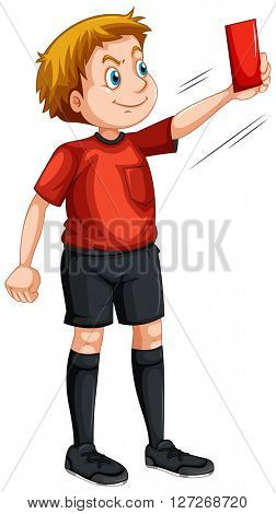 Referee showing red ticket illustration
