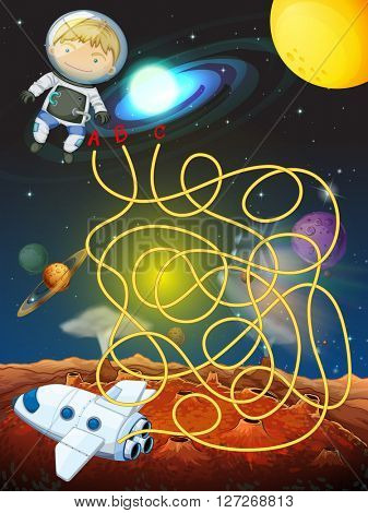 Maze game with astronaut in space illustration