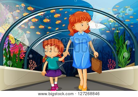 Mother and kid at the aquarium illustration