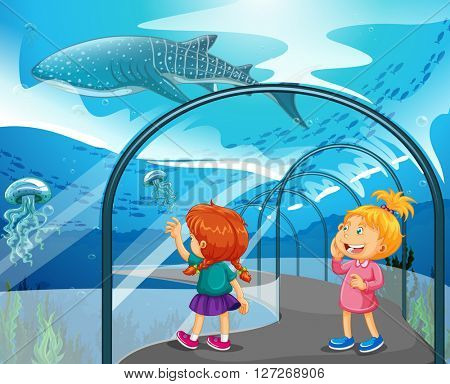 Two girls visiting aquarium illustration