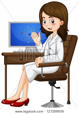 Scientist working on the computer illustration